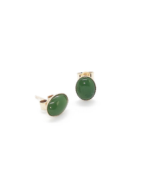 9ct Greenstone Capped Oval Stud Earrings