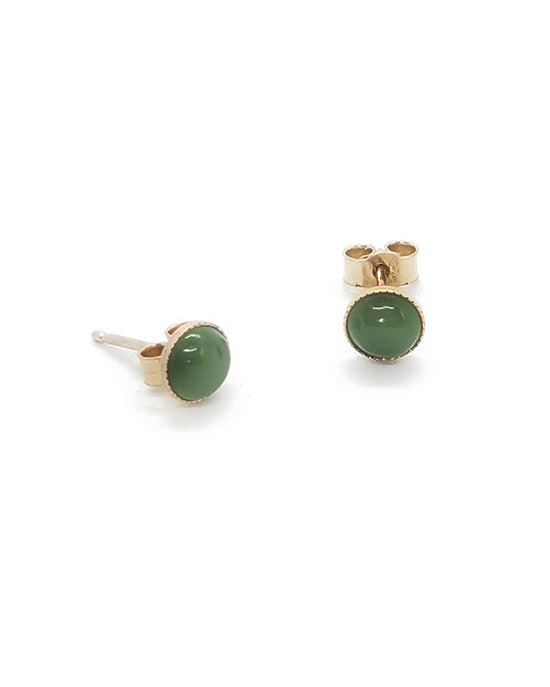 9ct Greenstone Capped Round Stud Earring