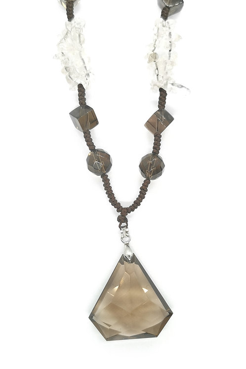 Natural Brown and Clear Zircon Fashion Neclace