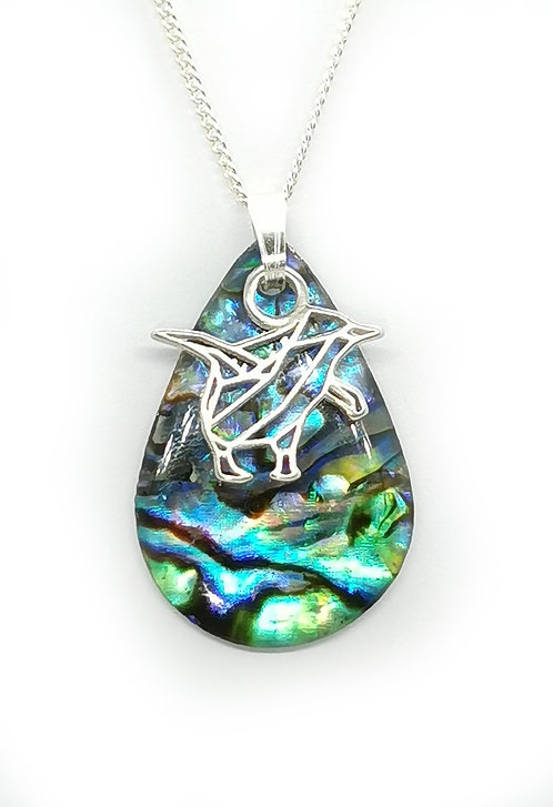 Paua Pendant with Blue Penguin