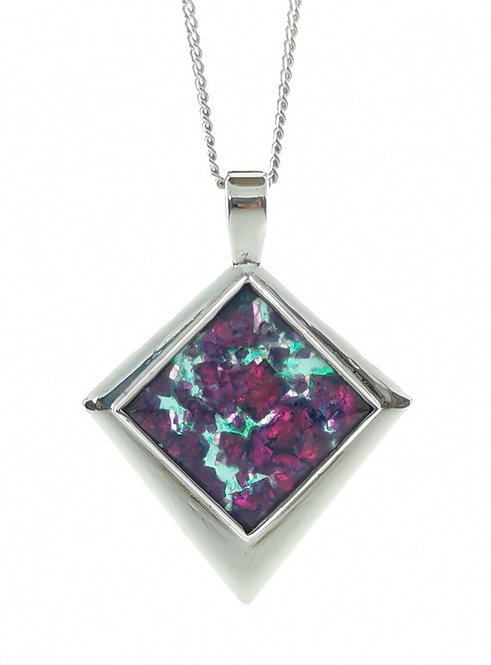 Ruby Rock Square Pendant set in Sterling Silver