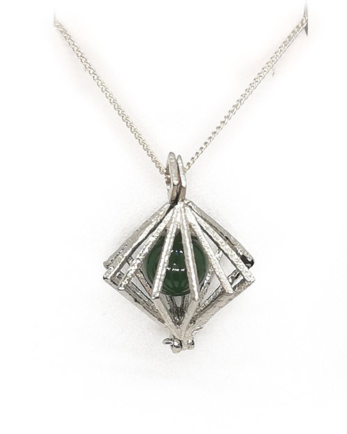 Sterling Silver Cage Pendant with Greenstone Bead