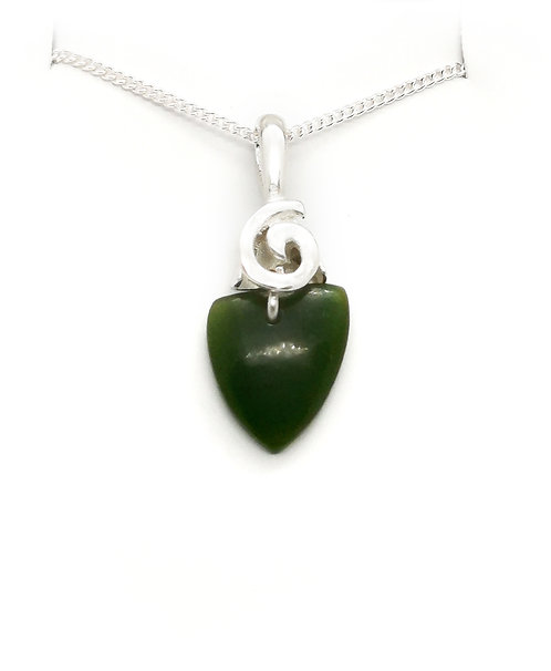 Greenstone Spearhead Pendant with Sterling Silver Koru Bail