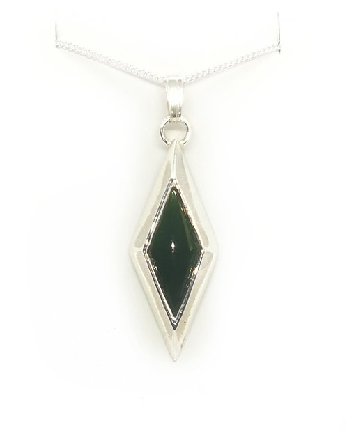 Sterling Silver Rhombus Pendant with Greenston