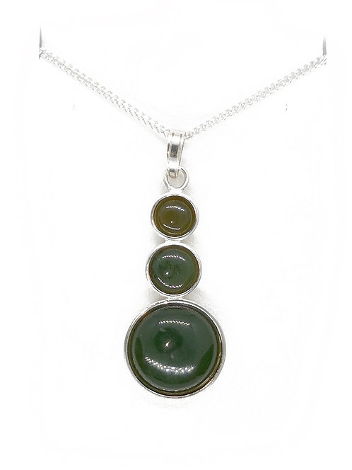 Greenstone Stack Stone Tower Sterling Silver Pendant