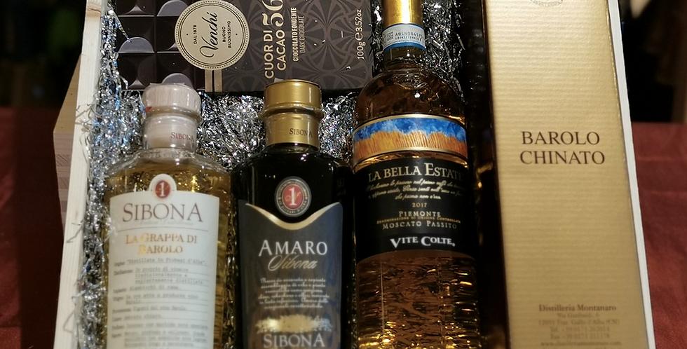 Grappa e Amaro  Sibona, La bella Estate Moscato Passito e Barolo C. Montanaro