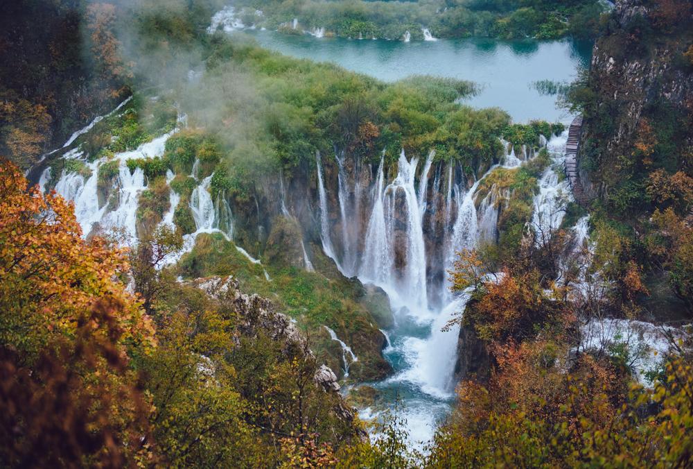 Plitvice Lakes Waterfalls in Fall