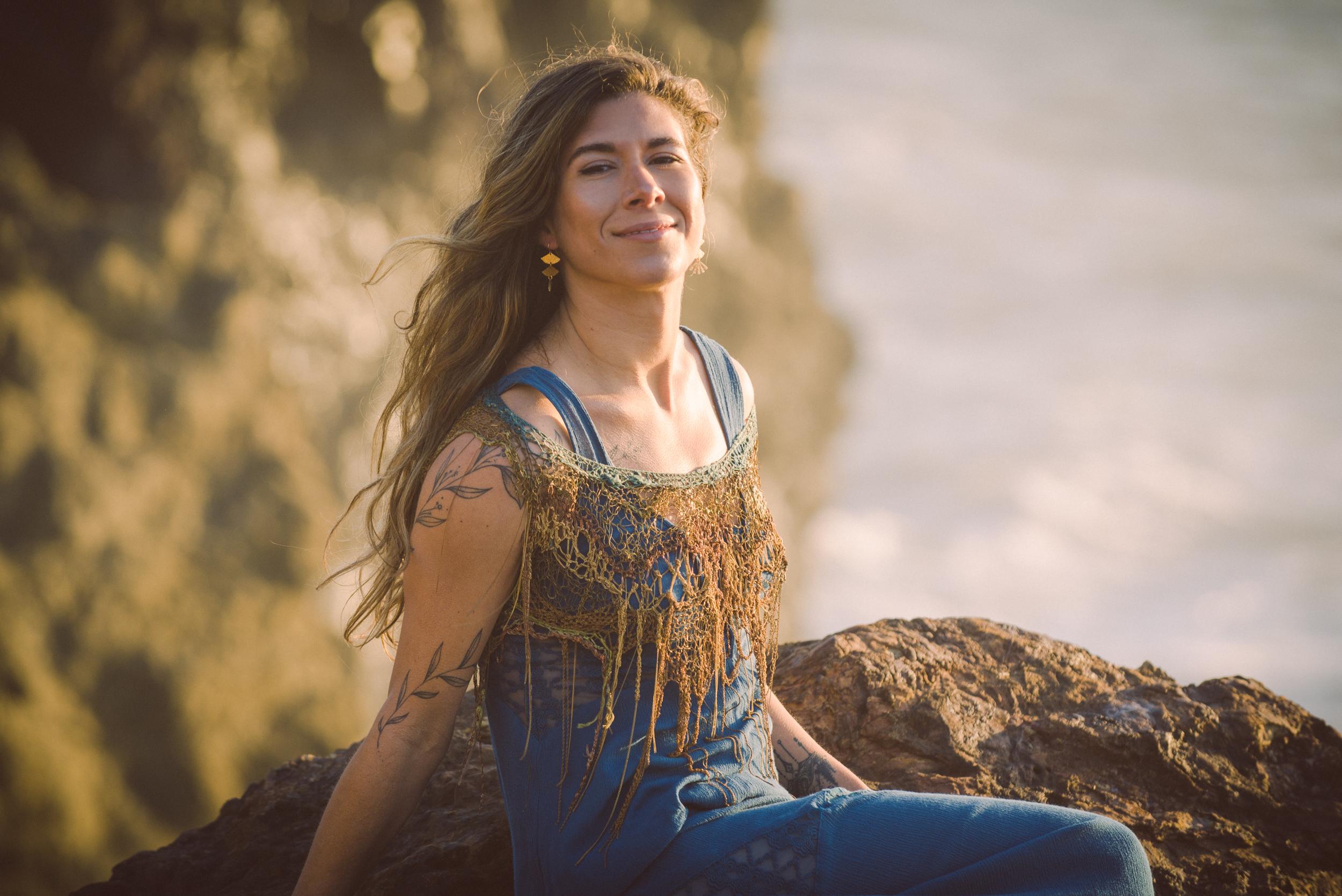 portrait woman outside beach