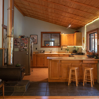 Kitchen and forced air wood stove