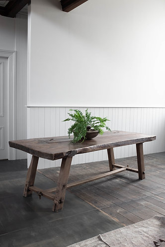 LARGE FRENCH ELM SLAB TOP TABLE