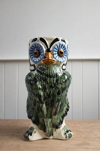 MASSIVE MID CENTURY MAJOLICA OWL