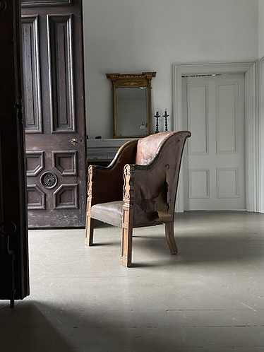 19TH CENTURY LEATHER AND WALNUT READING CHAIR