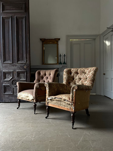 PAIR OFFICERS WING CHAIRS