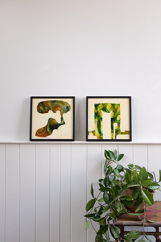 PAIR OF MIDCENTURY ABSTRACT PAINTINGS