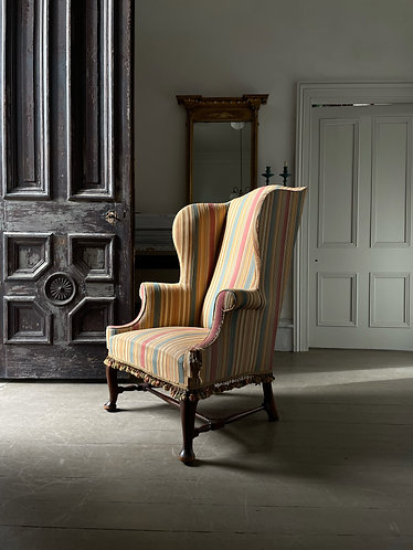 1920s WING CHAIR WITH TURNED STRETCHER