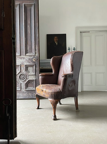 1930's LEATHER WING CHAIR