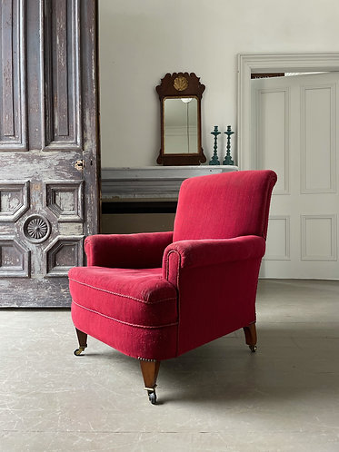 EDWARDIAN COUNTRY HOUSE ARMCHAIR IN ORIGINAL RED FABRIC