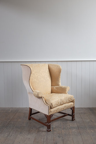 CARVED CHIPPENDALE STYLE WING CHAIR