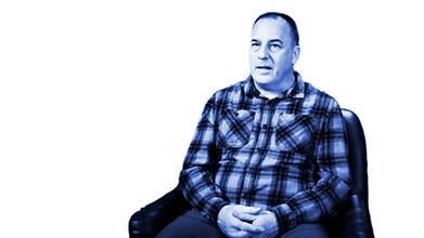Portrait of Vince Lanning, tinted blue