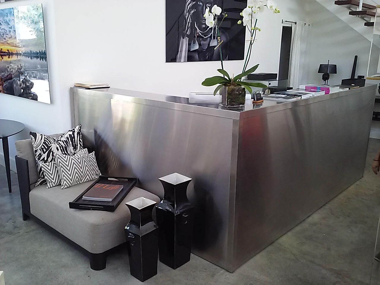 Custom Front Desk in Stainless Steel