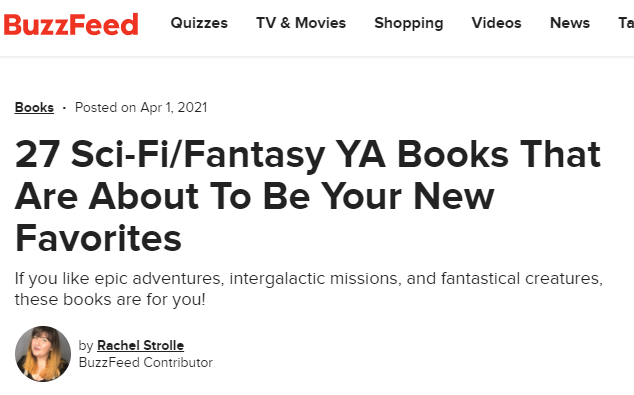 Buzzfeed Sci-Fi/Fantasy YA Feature!