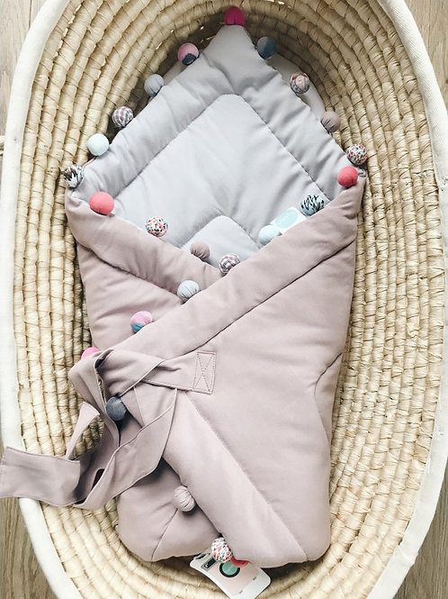 Rożek niemowlęcy pudrowo/szary