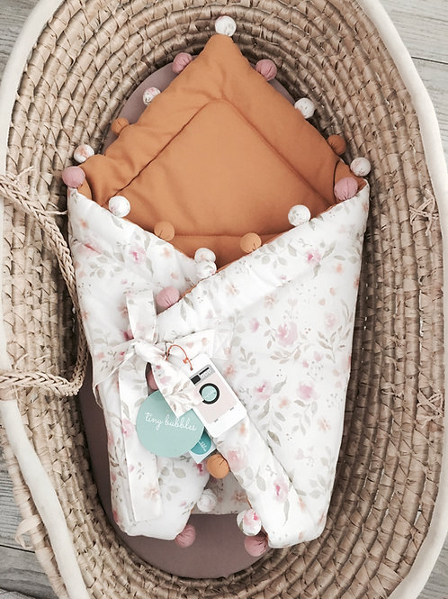Rożek niemowlęcy vintage flowers / musztarda