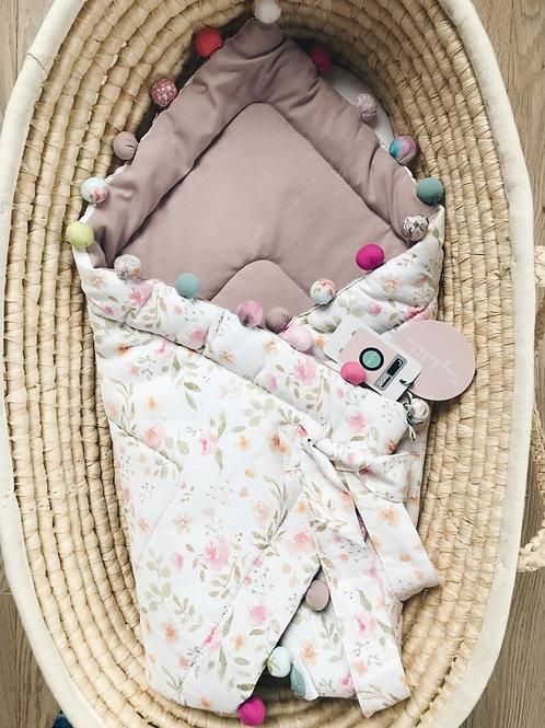 Rożek niemowlęcy vintage flowers / puder