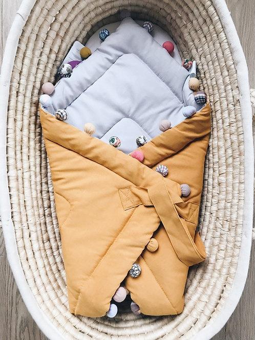 Rożek niemowlęcy musztardowo/szary