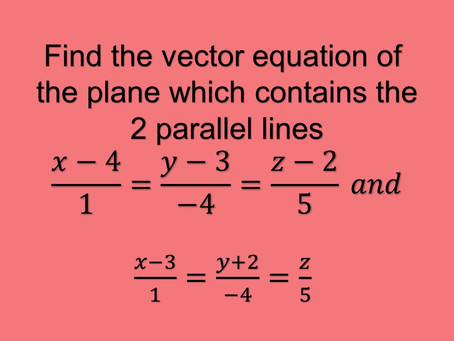 How to find the equation of a plane containing 2 parallel lines?