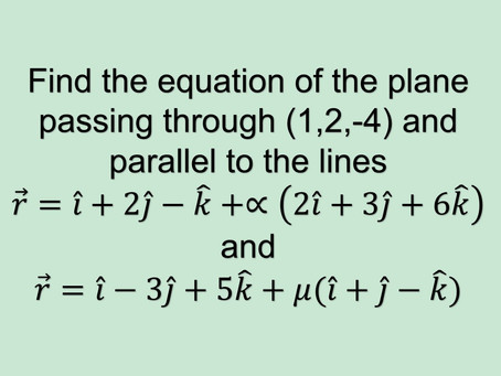 Find the equation of a plane passing through a point and parallel to 2 lines