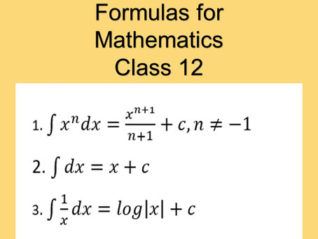Formulas for Integration-Algebra-Trigonometry