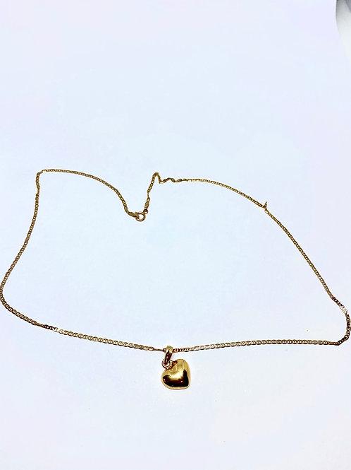 Cadena plana y corazón 💓 oro rosa