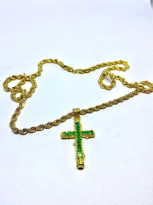 Cadena lazo y dije cruz Esmeralda