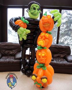 Frankie Stacking Pumpkins