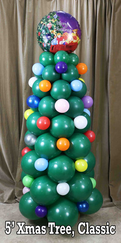 Classic Balloon Christmas Tree, 5 Feet with Topper