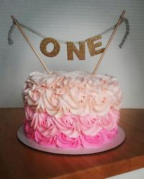 The cutest little smash cake! #smashcake #cutecake #ombre #pinksmashcake #one #photoshoot