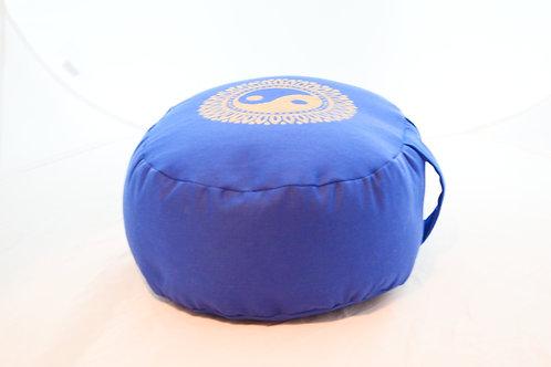 Coussin Ovale bleu foncé, impression Yin Yang or