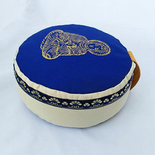 Coussin rond, bleu foncé, mastic et moutarde, motif bouddha or, galon assorti