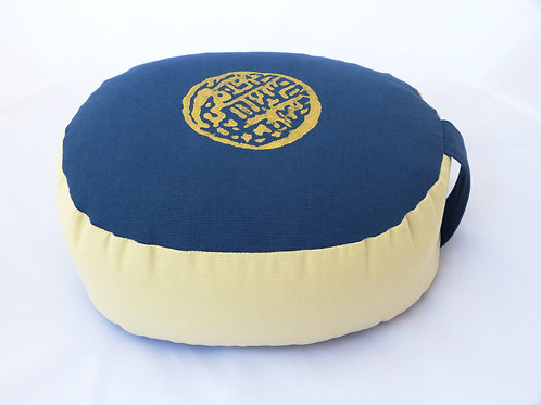 Coussin Ovale bleu foncé et écru, impression Zen Or