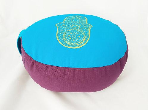 Coussin Oval turquoise et violet, motif main de Fatima or