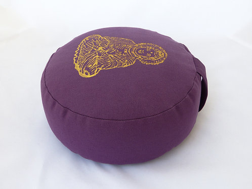 Coussin rond violet impression Bouddha Or