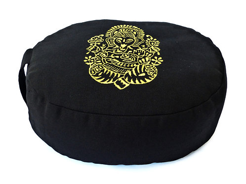 Coussin Ovale noir, impression Ganesh Or