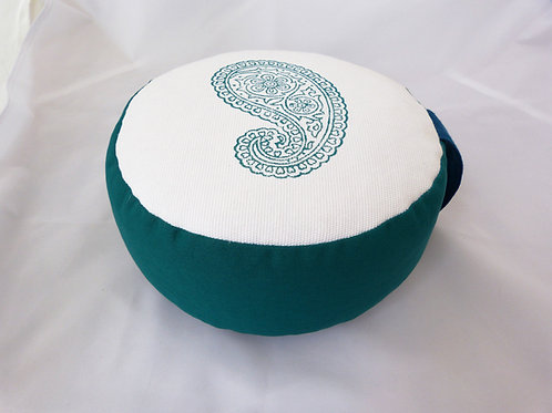 Coussin rond blanc, vert canard et bleu foncé, motif Cachemire