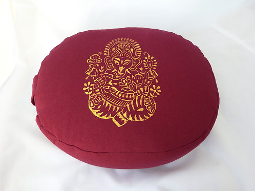 Coussin Ovale bordeaux, impression Ganesh