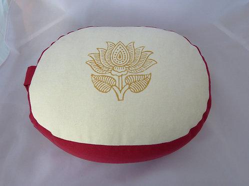 Coussin Ovale blanc et vieux rose foncé, impression Lotus