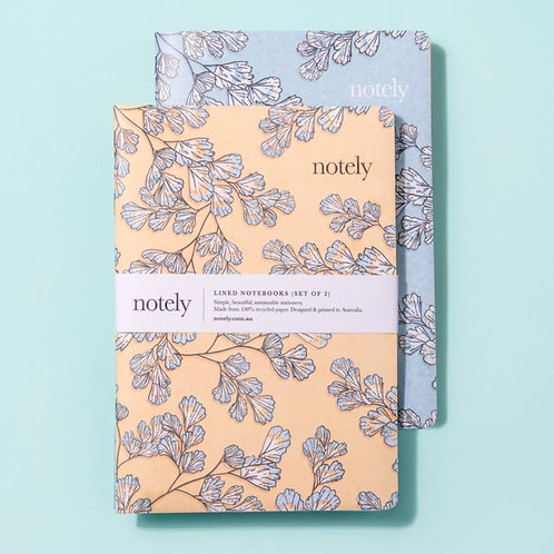 NOTELY fern fancy -  Set of 2 - Lemon and Turquoise A5 notebooks