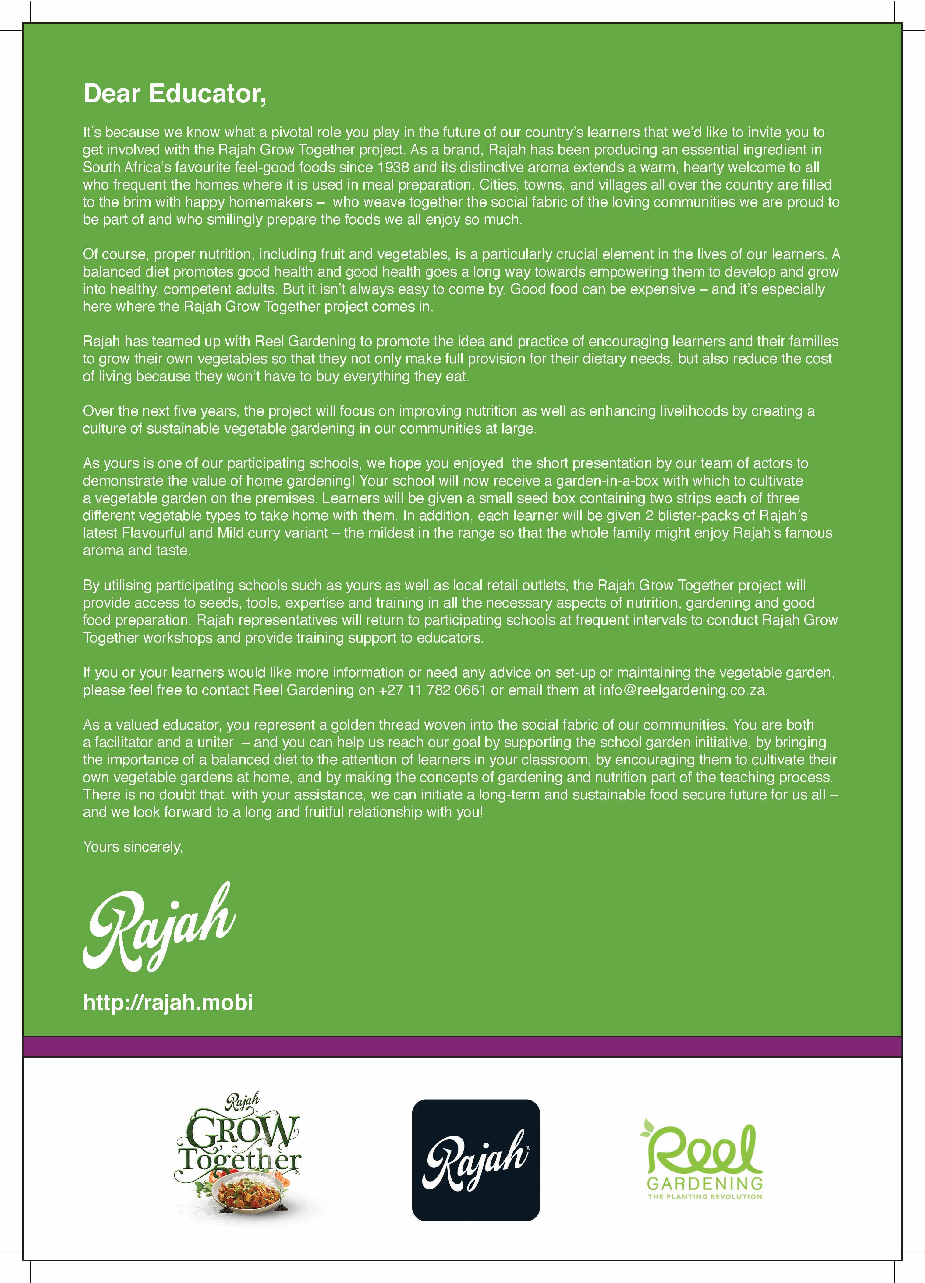 RAJAH: Letter to Educator - Page 1