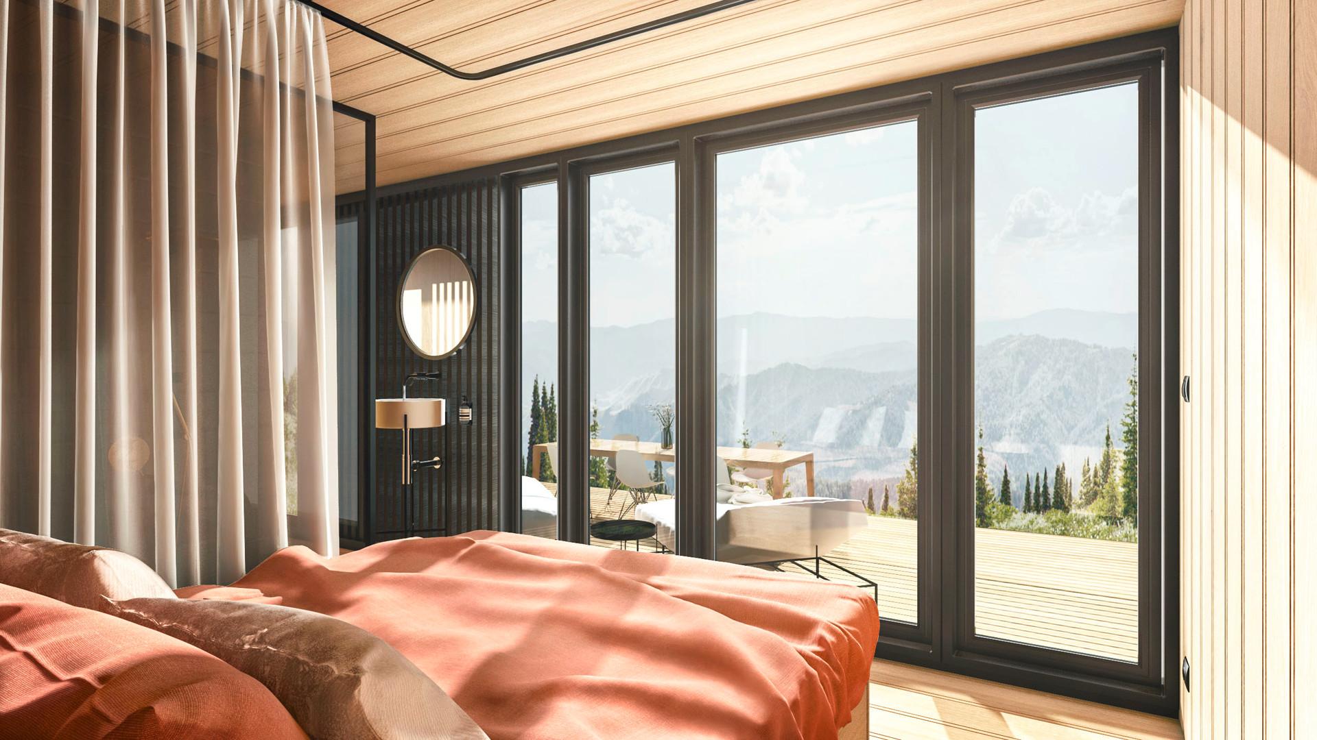 Plant Haus Malluvia München Marcella Breugl Innenarchitektur Schlafzimmer Glasfront Holzverkleidung