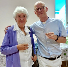 Fr Nigel with the late Margaret Mallory, a former stalwart of St Edward's
